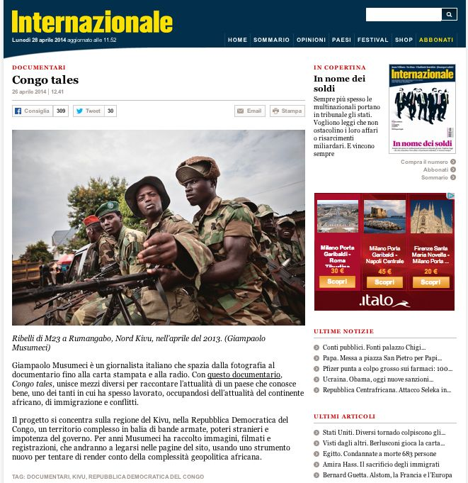 Congotales is featured on Internazionale